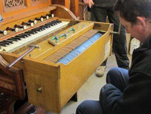 1 Stuart testing the Erddig dumb organist a
