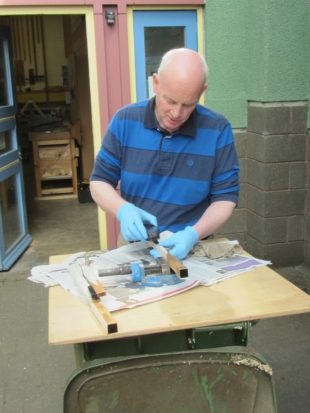 5 visit from Willie Hendrie, repairing the keys from the Rothbury organ a
