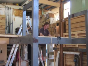 7 Nick assembling  the reconstructed organ case at Rothbury a