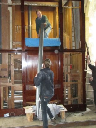 2 Joseph passing the Swell Open into the newly-installed organ at Great Tew a