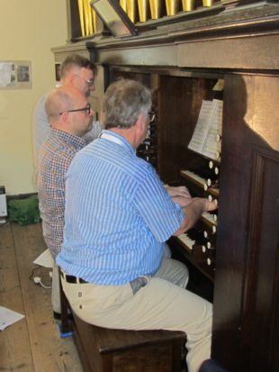 8 Goran Grahn, Simon Heiperin and William McVicker playing a stave each of the St Anne fugue at St James Bermondsey a