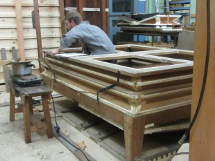 Guillaume starts the restoration of the bellows from Great Tew